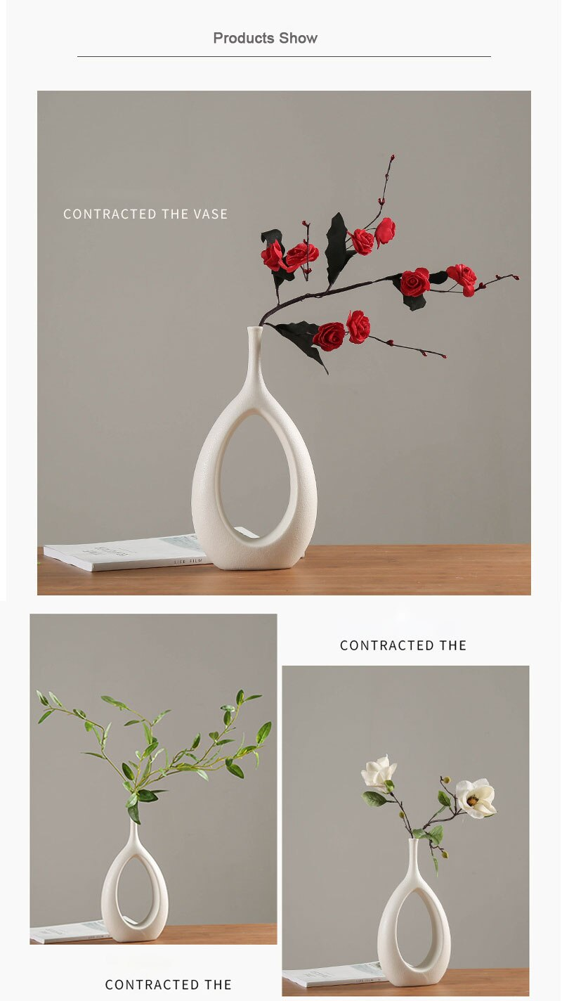 Nordic ins creative white ceramic vase light luxury home living room countertop dried flower flower container home decoration