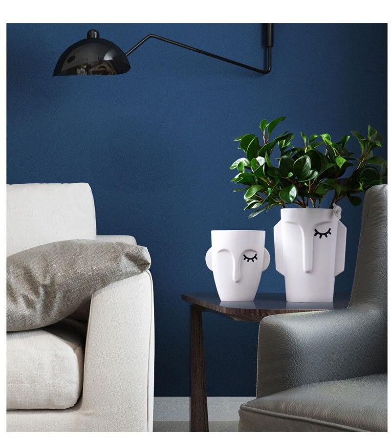 Nordic Art Abstract Human Face Ceramic Vase Creative Living Room Desktop Decoration Floor Flower Arrangement Home Decoration