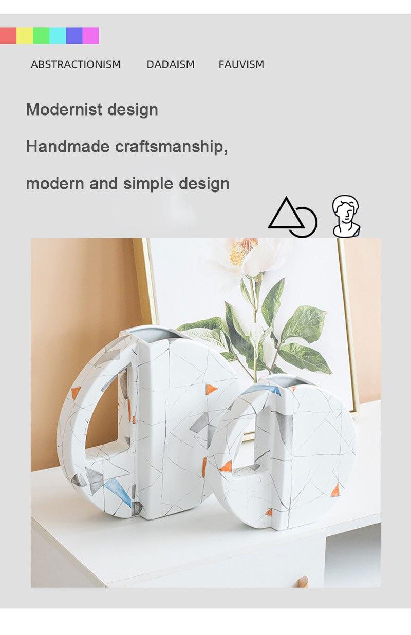 Nordic ins light luxury geometric ceramic vase room porch living room desktop dried flower flower container home decoration