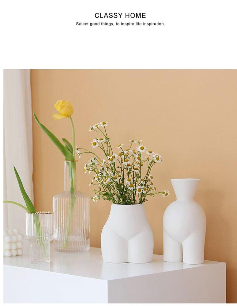 Nordic ins abstract human body ceramic handmade vase flower arrangement crafts creative half-length vase home decoration statue