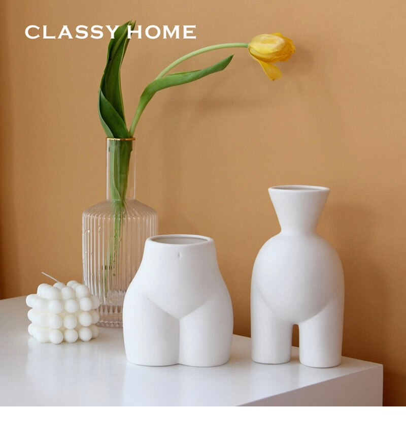 Nordic ins abstract human body ceramic handmade vase flower arrangement crafts creative half-length vase home decoration statue
