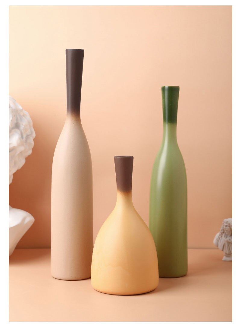 Nordic ins gradient Morandi color vase simple thin mouth dried flower container living room bedroom home decoration crafts