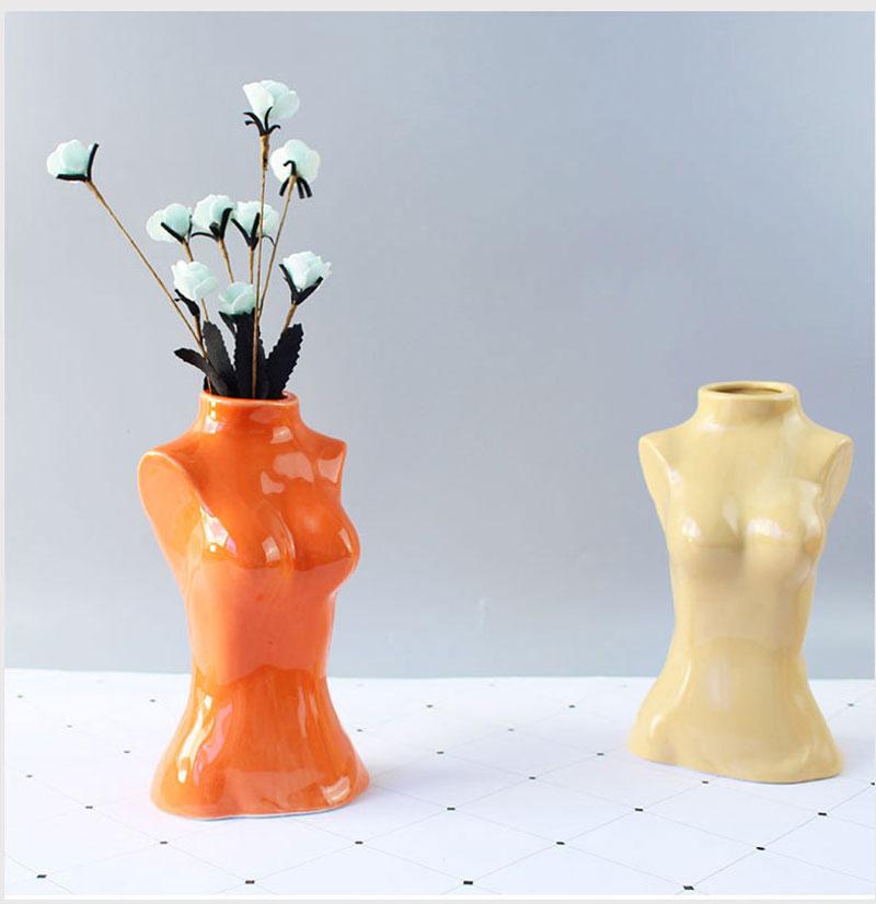 Creative human body chest art ceramic vase living room bedroom TV cabinet desktop flower arrangement flower home decoration