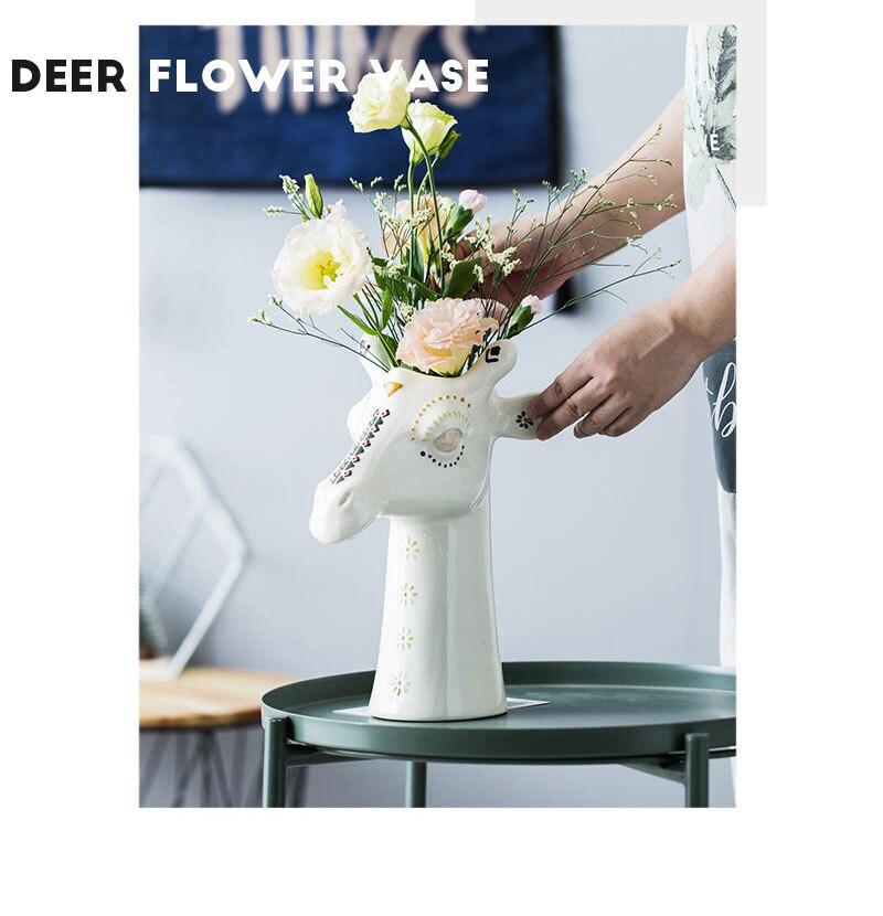 Resin cartoon animal head vase giraffe home decoration coffee shop display cabinet simulation animal vase office desk decoration