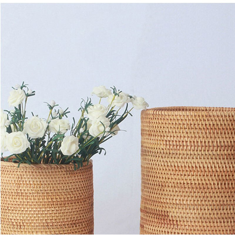 Nordic Decor Home Decoration Accessories Rattan Woven Storage Bucket Do The Vase Pure Handmade Ornaments Natural Wood Furniture