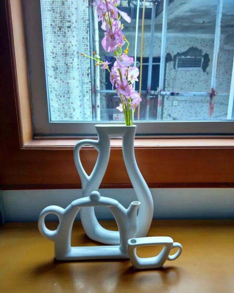 White Ceramic Flower Pot Fashion Modern Style Wedding Decorative Vase  Home Decoration Accessories Tabletop Teapot Vase Planter