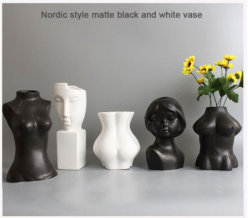 Creative black and white human face personality body art vase ceramic crafts desktop abstract vase home decoration accessories