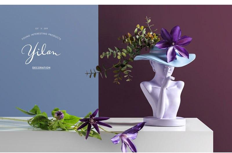 Creative European style sculpture resin portrait flower pot home decor living room decoration flower arrangement utensil crafts