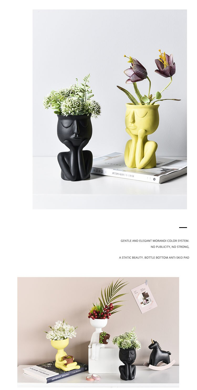 Nordic Minimalist Ceramic Abstract Vase Black Yellow Human Face Creative Display Room Decorative Figue Head Shape Small Pots