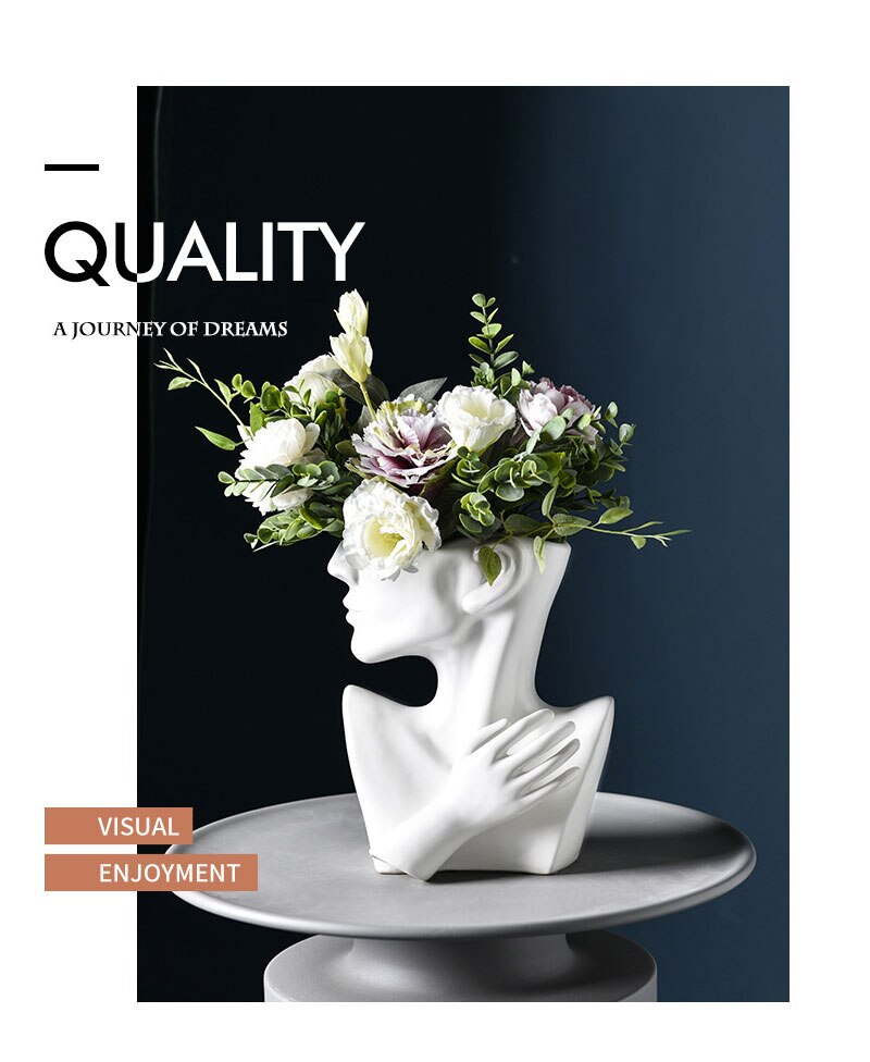 Desktop Vase Home Decor Creative European Half-length Face Ceramic Flower Pot Portrait Ornaments Fleshy Nordic Face Flower Pot