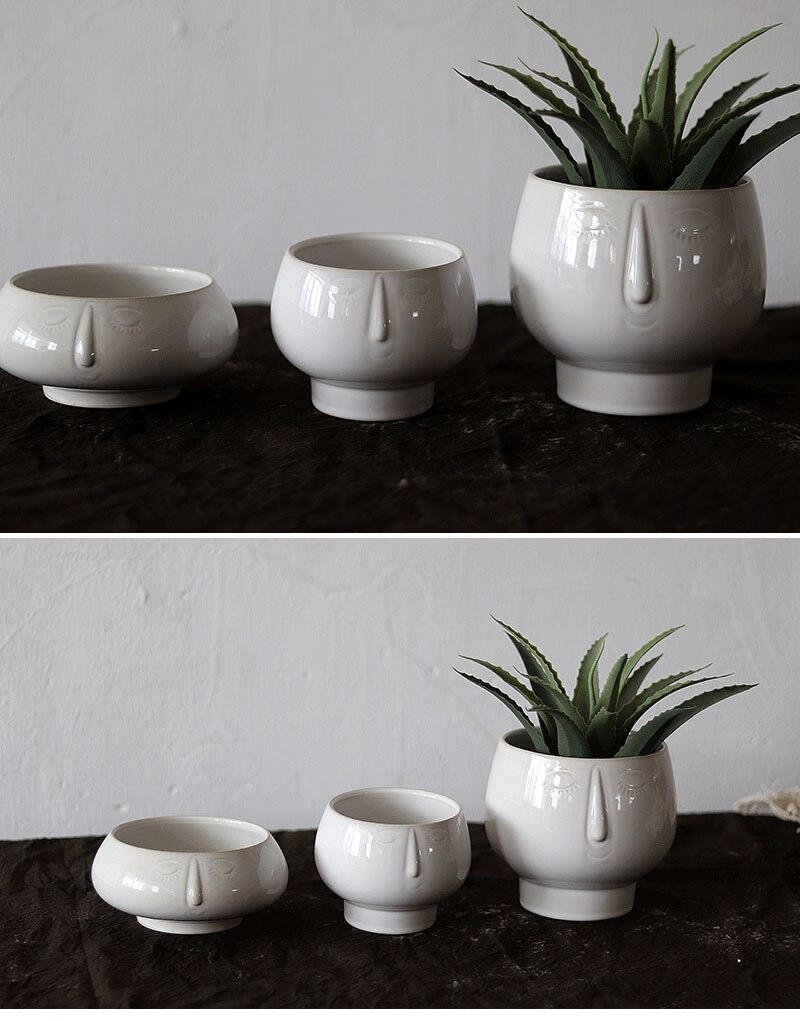 Nordic ins abstract human face face vase ceramic living room flower arrangement floral home decoration succulent flower pot