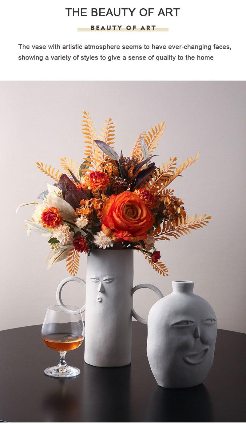 Nordic modern ceramic vase decoration abstract face bedroom desktop living room dried flower floral arrangement home decoration