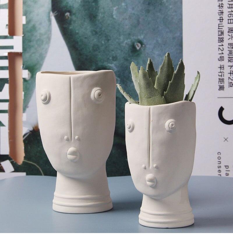 Nordic ceramic abstract human face flower pot diy creative portrait succulent potted flower arrangement vase home decoration