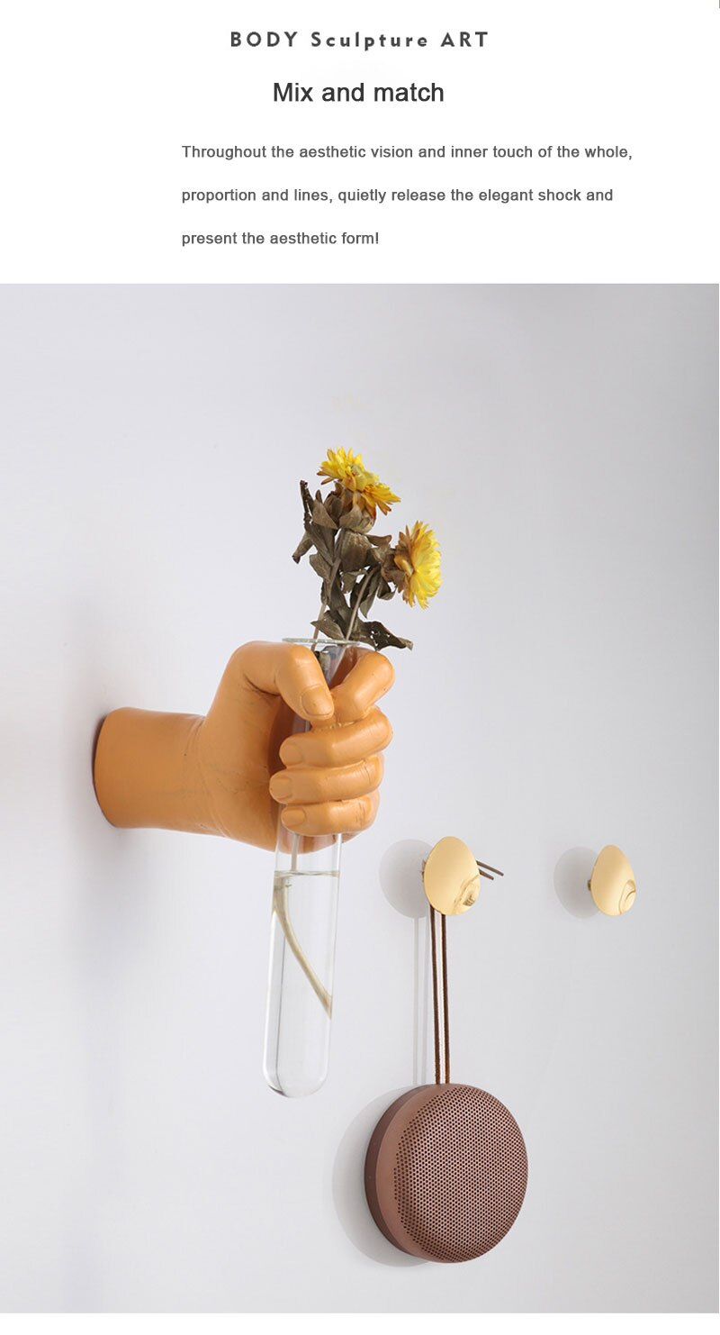 Nordic ins creative hand fist glass vase wall-mounted plant dried flower vase rack hydroponic wall-mounted home decoration