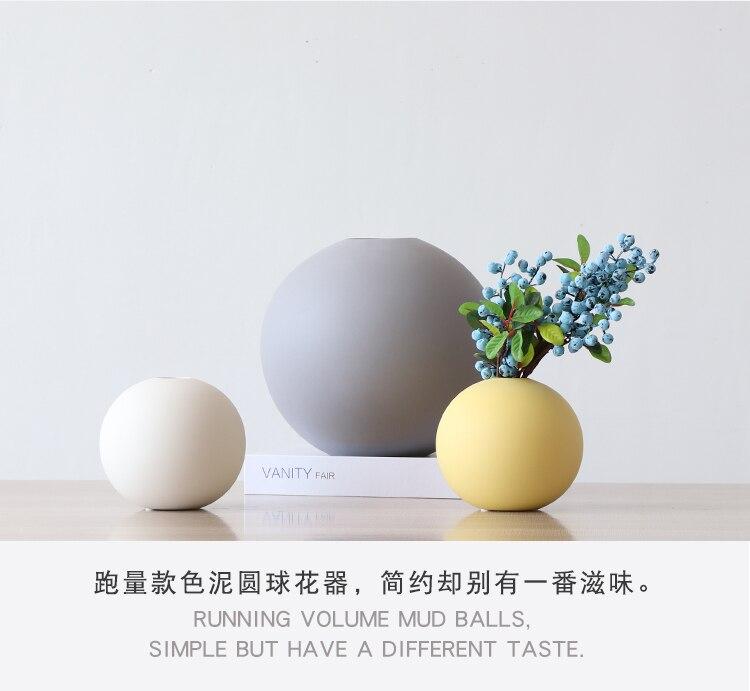 Nordic Creative ceramics Round vase Flower arrangement accessories Modern home Decorative ornaments flower vase wedding