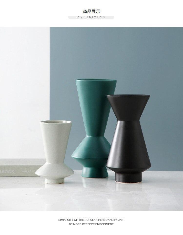 Nordic Creative ceramics abstract geometric vase Flower arrangement accessories Art vase Modern home desktop decoration veses
