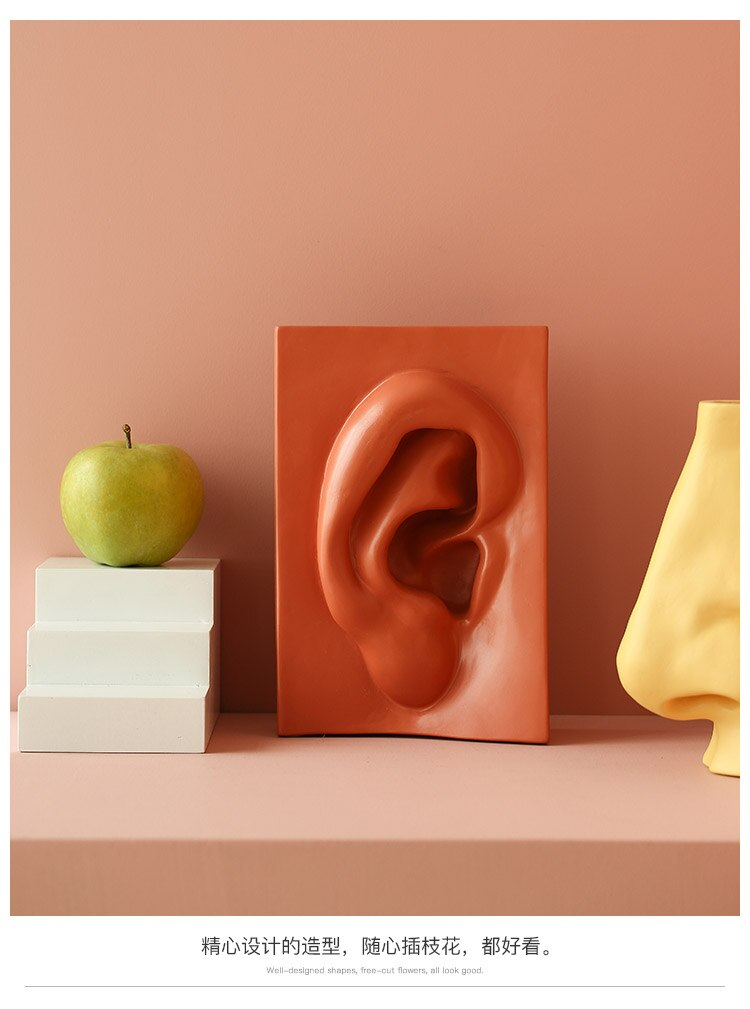 Creative Ceramics Vase Facial Features Eye Ear Mouth Nose Flower Arrangement Accessories Modern Home Room Decoration Furnishing