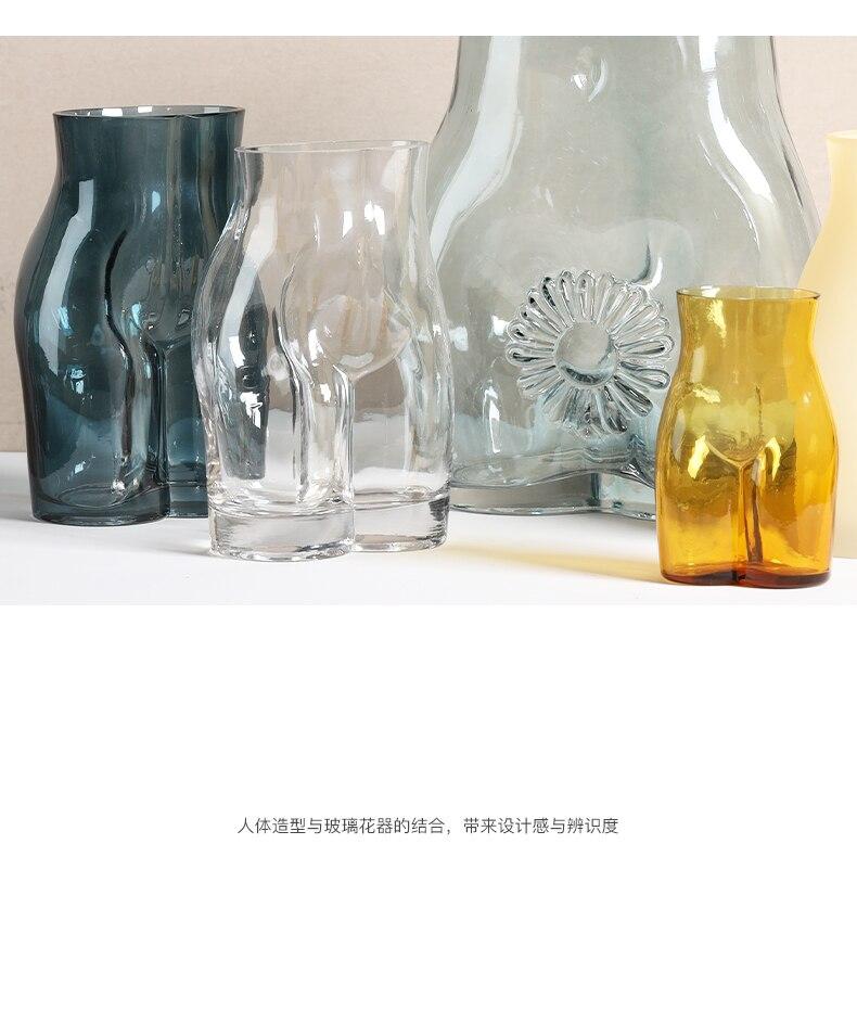 Creativity Glass Vase Abstract Body Art Character Sculpture Transparent Flower Vase Flower Arrangement Modern Home Decoration