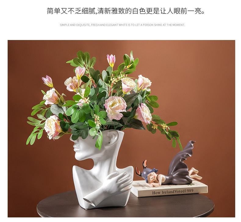 Creativity Ceramics Vase Abstract Human Face Crafts Furnishings Modern Home Decoration Desktop Flower Arrangement Flowers Vases