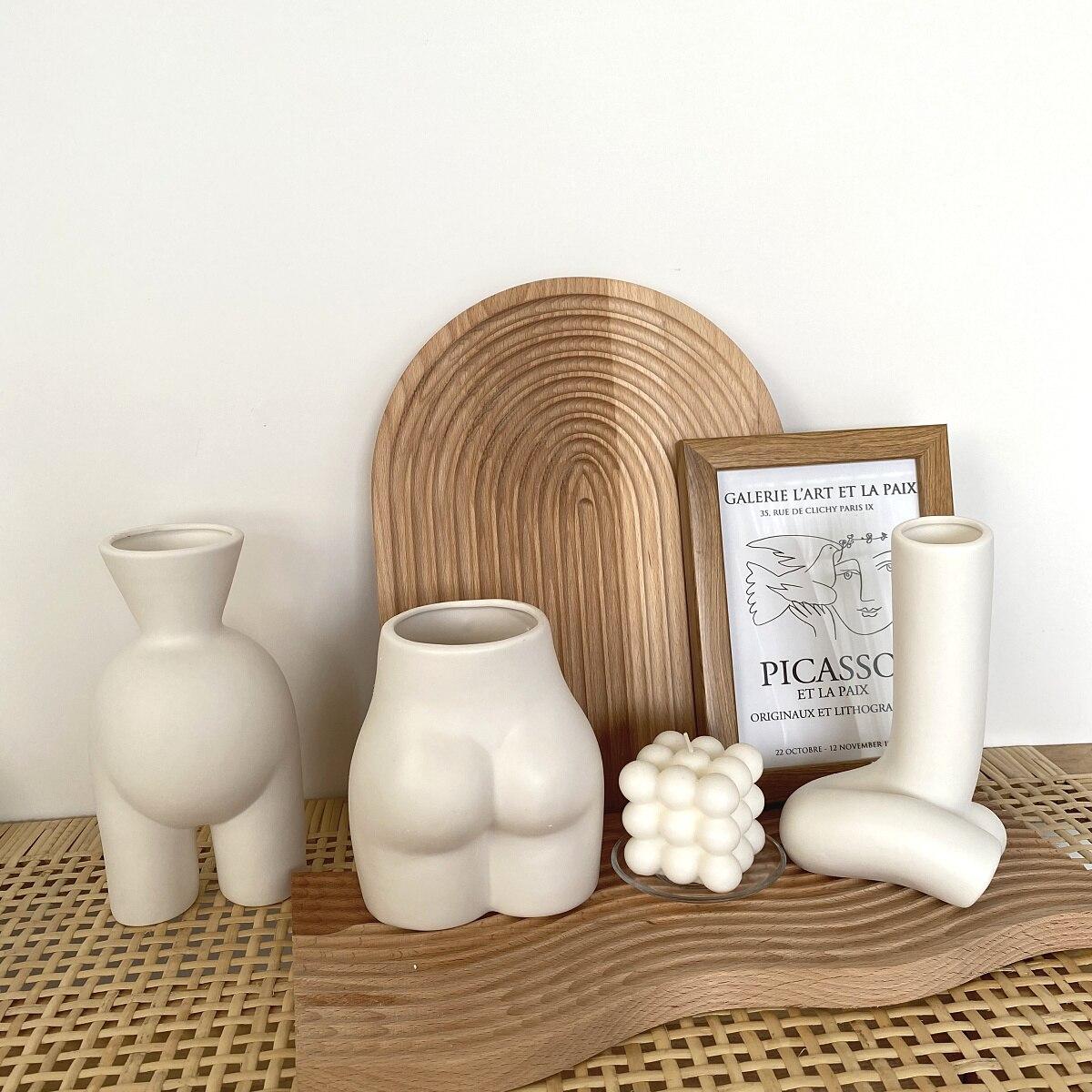 Creativity Ceramics Vase Human Body Nude Abstract Flower Vase Flower Arrangement Crafts Handmade Modern Home Decoration
