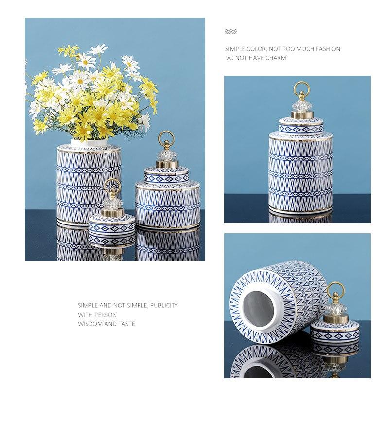 Creativity Ceramic Pot Geometric with Cover Modern Home Desktop Storage Organization Flower Vase Storage Jar Decoration