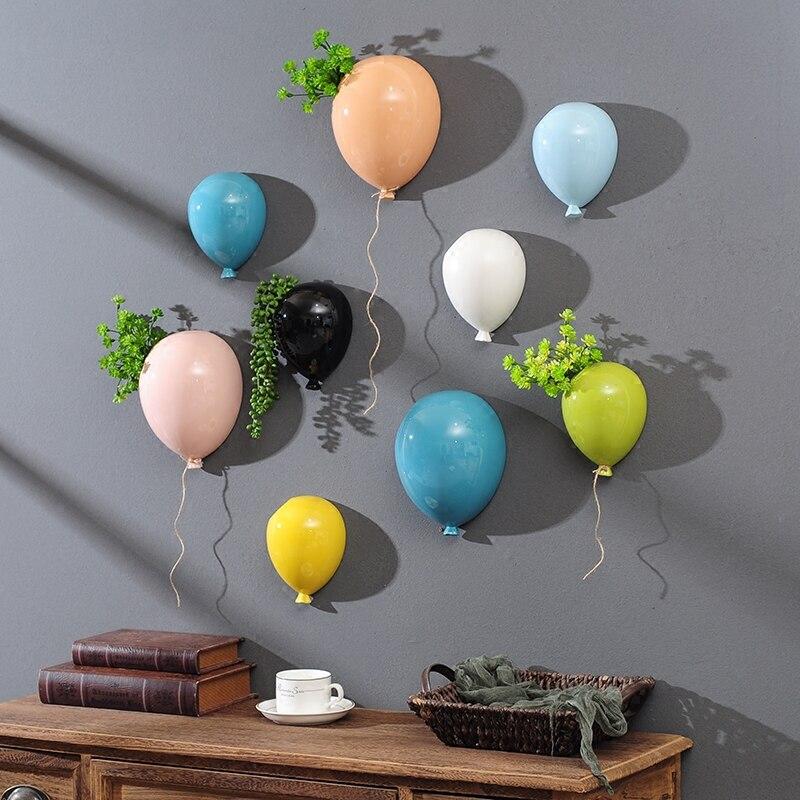 Creative ceramics balloon Wall hanging flower pot vase Children's room Wall decoration Home background wall modern decoration