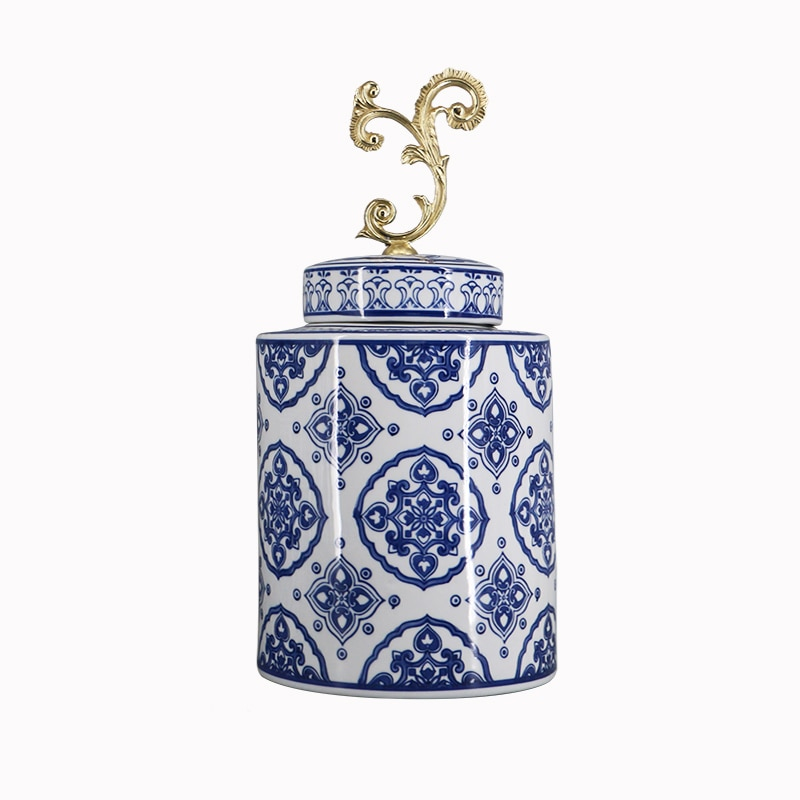 Retro Classical Blue and White Porcelain with Cover Vase Storage Jar Chinese Home Flower Arrangement Decorations Organization