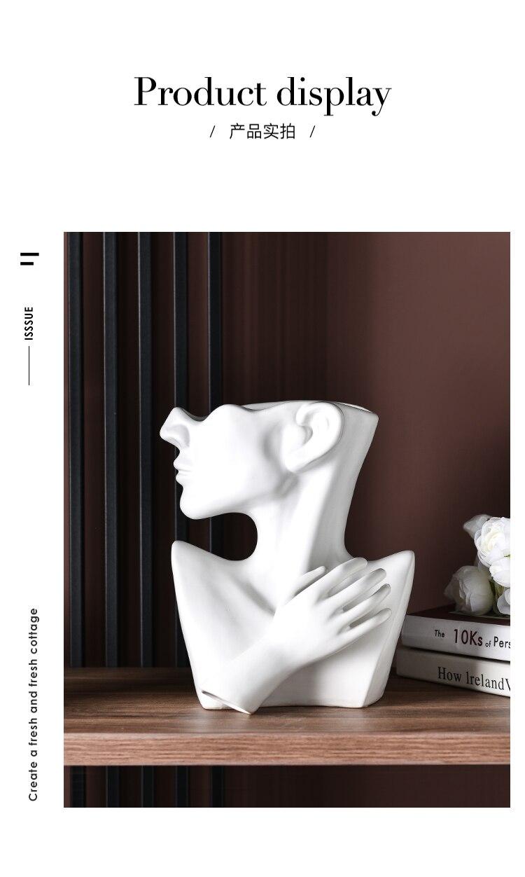 Nordic Creative ceramics vase Human head abstract Half body flower pot Flower arrangement human face Modern home decoration