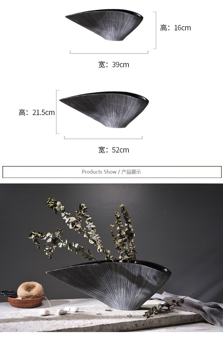 Creative Nordic style Resin vase modern abstract Fan-shaped vase Decoration crafts Home Decorations Dried flowers