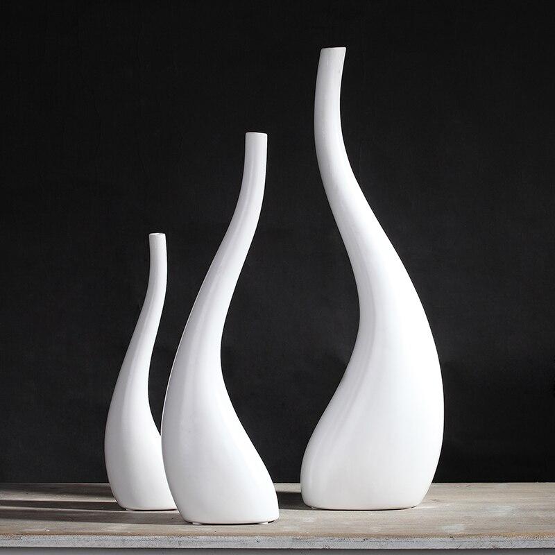 Creative modern Nordic white Ceramic vase Flower arrangement design Home living room Decorative ornaments Hydroponics