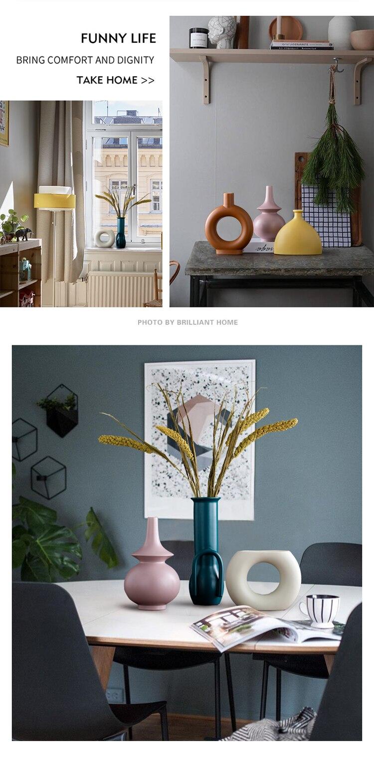 Nordic ceramics geometric Irregular vase Modern ceramic flower vase Home living room flower accessories Creative Decoration