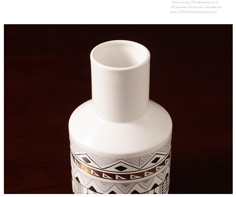 Creative Nordic white ceramics Flower vase Geometric pattern Flower arrangement accessories Modern home Decorative ornaments