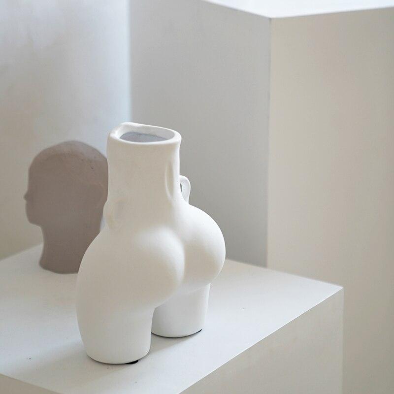 Creativity Ceramics Vase Human Body Body Art Handmade Original Flower Accessories Modern Home Decoration Handicraft Furnishings