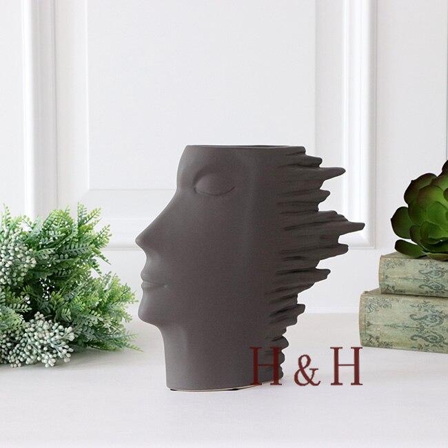 Nordic style modern abstract Human head ceramics vase Creative Flower Home Decoration Flower arrangement living room