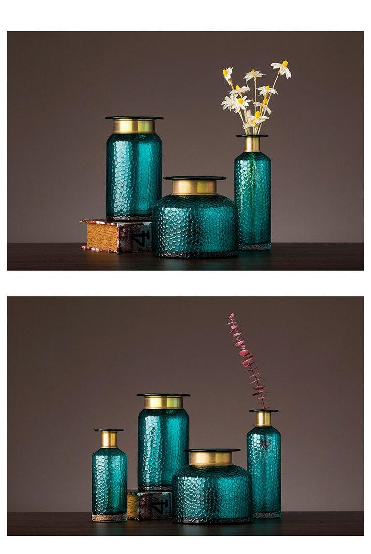 modern Nordic Transparent glass gold Concave snake Flower vase living room Flower arrangement Hydroponics Home decoration