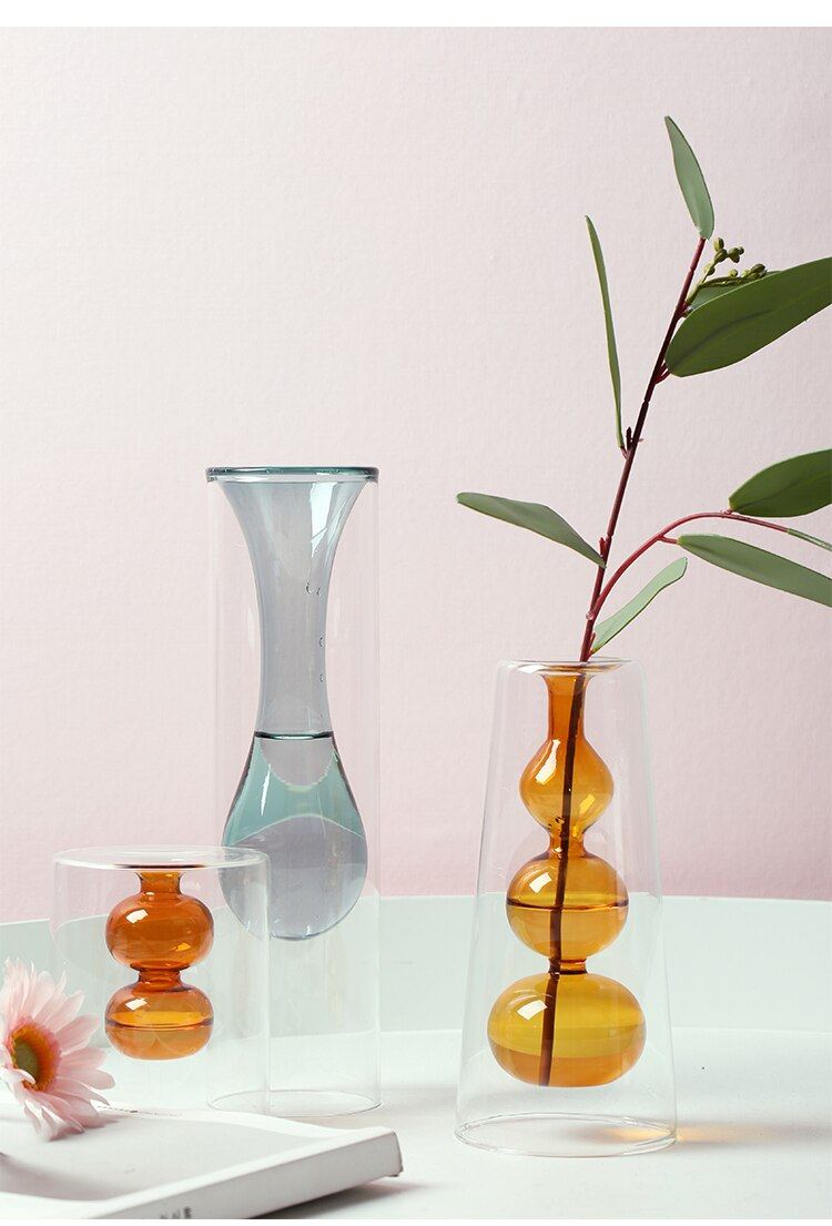 Nordic modern color glass Transparent vase Home flower accessories Modern living room Decorative ornaments flower vase