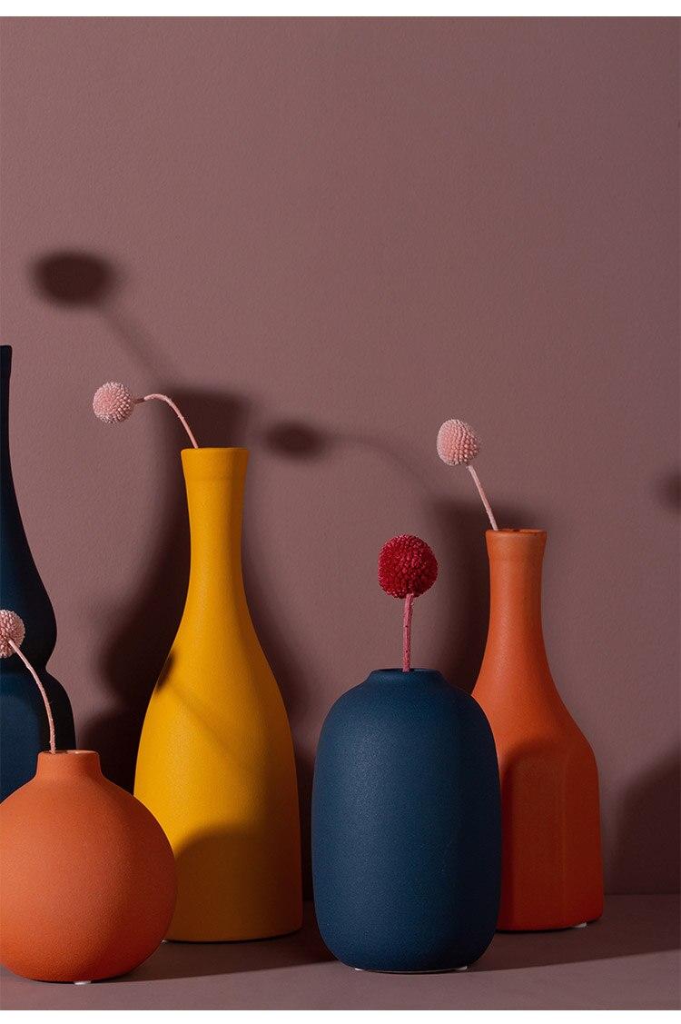 Creative Nordic ceramics vase geometric abstract Crafts ornaments Flower arrangement accessories Modern home decoration wedding