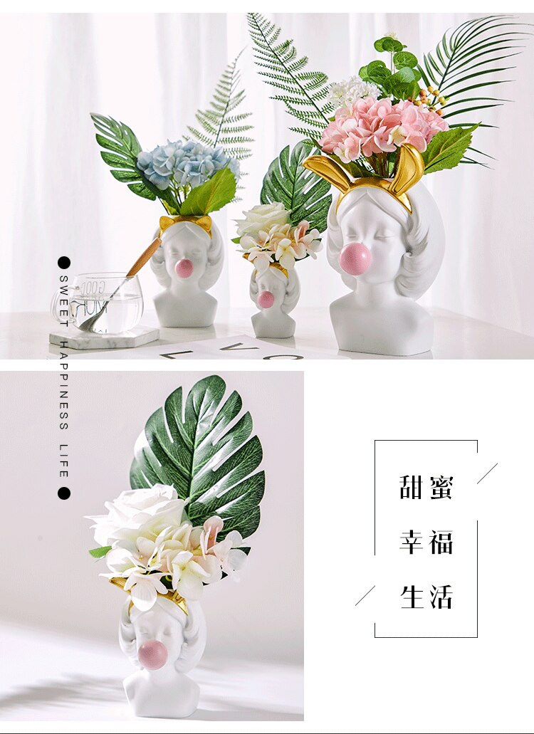 Nordic Creative vase Human head lovely Bubble Gum Girl rabbit Cat Flower arrangement Modern home decoration flower pot wedding