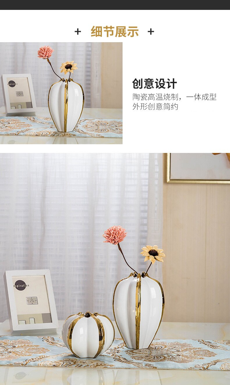Creativity Ceramic Vase Pumpkin Petal Handmade Flower Arrangement Hydroponics Modern Home Decoration Accessories Vases