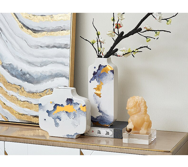 Chinese Style Ceramics Retro Ink Vase Handmade Golden Flower Arrangement Modern Home Decoration Desktop Crafts Furnishings