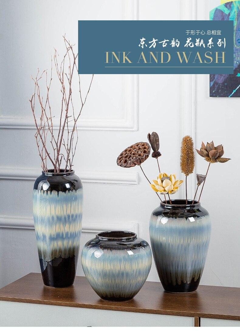 Ceramics Gradient Vase Flower Vase Decorative Ornaments Living Room Flower Arrangement Modern Home Decoration Vases