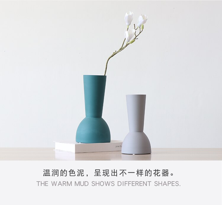 Nordic Creative ceramics vase Scrub Solid color Home desktop decoration Flower arrangement Hydroponics Wedding decoration