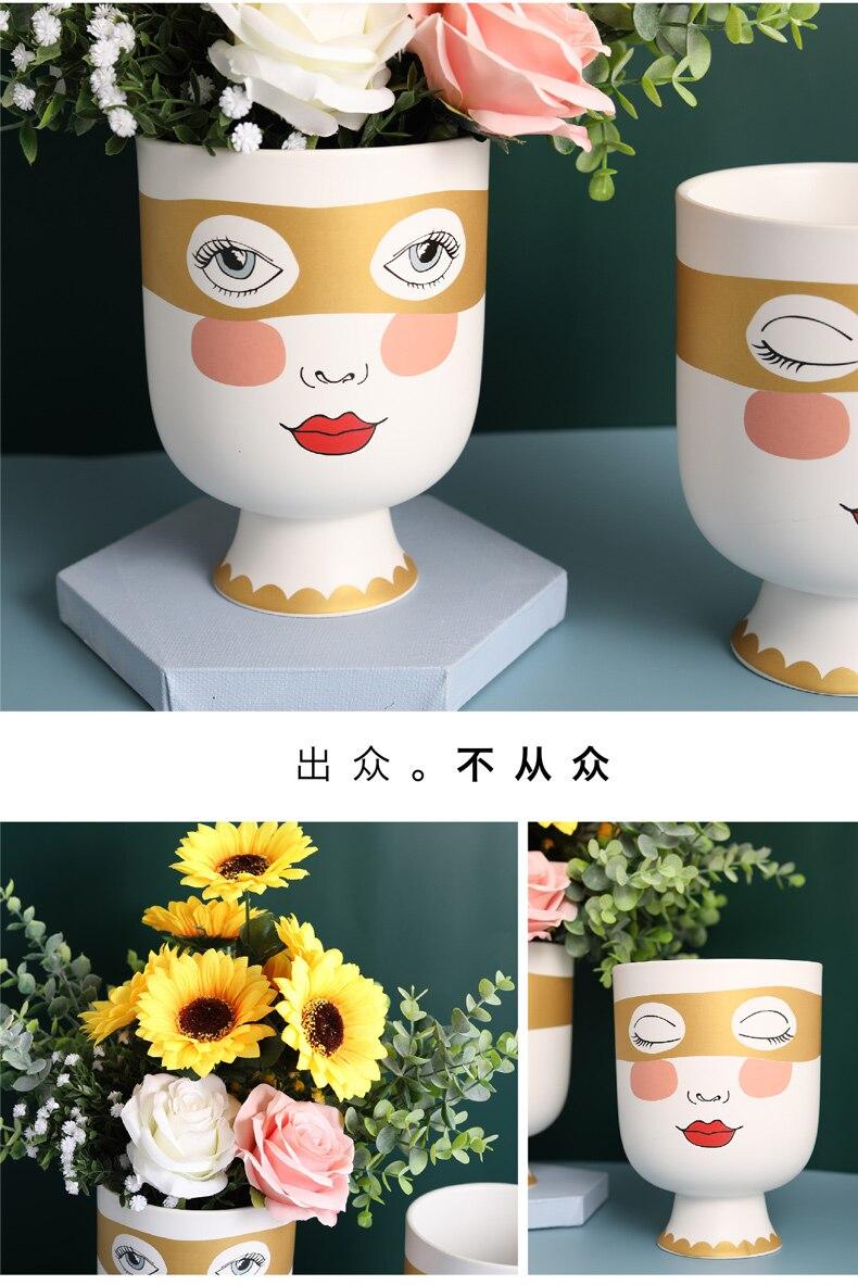 Creative human face Ceramic vase lovely Cartoon face Flower vase Flower arrangement Modern home living room Decorative ornaments
