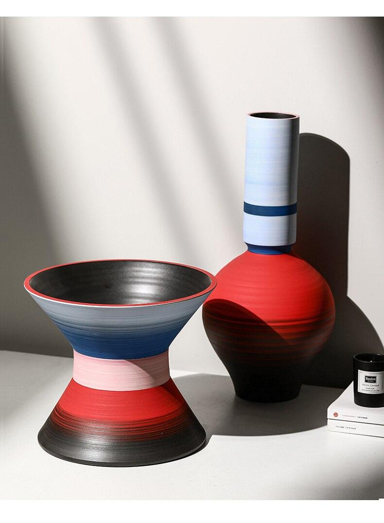 Creative Nordic ceramics color Round mouth vase Pop wind Flower arrangement accessories Modern living room Home Decorations