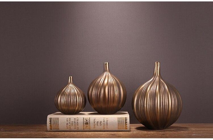 Nordic Creative Resin Gold Flower arrangement vase Modern home living room Decoration wedding home decoration accessories