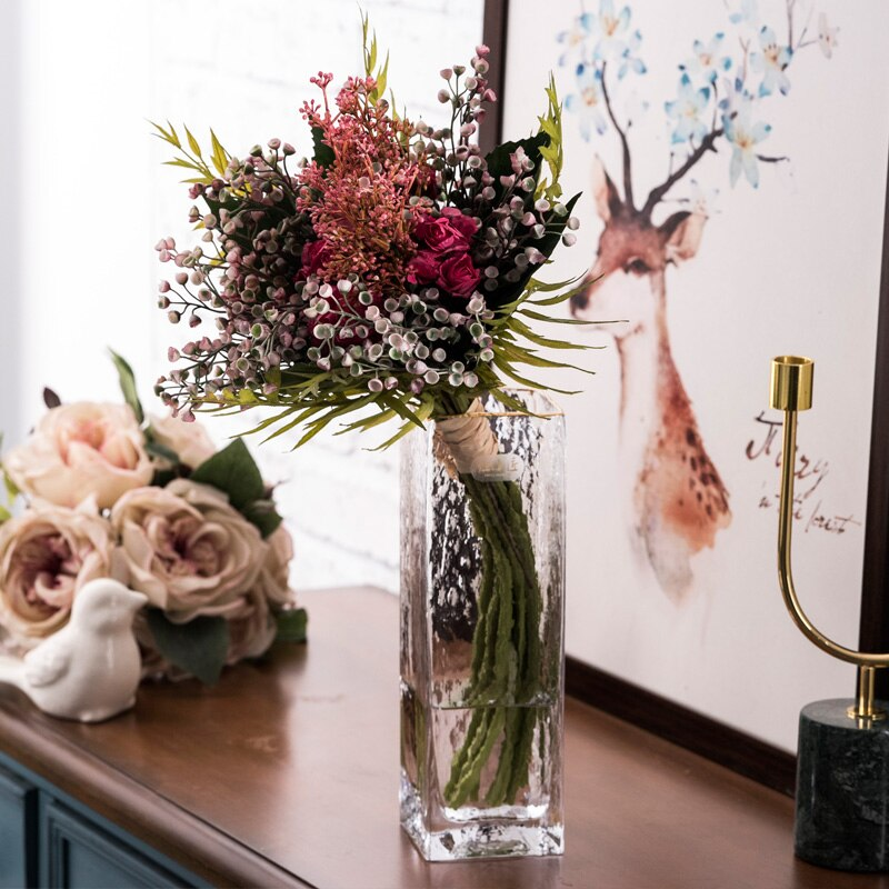 Creative Hammer pattern glass Golden rim vase Nordic Flower arrangement Flower vase Decorative ornaments Modern home decoration