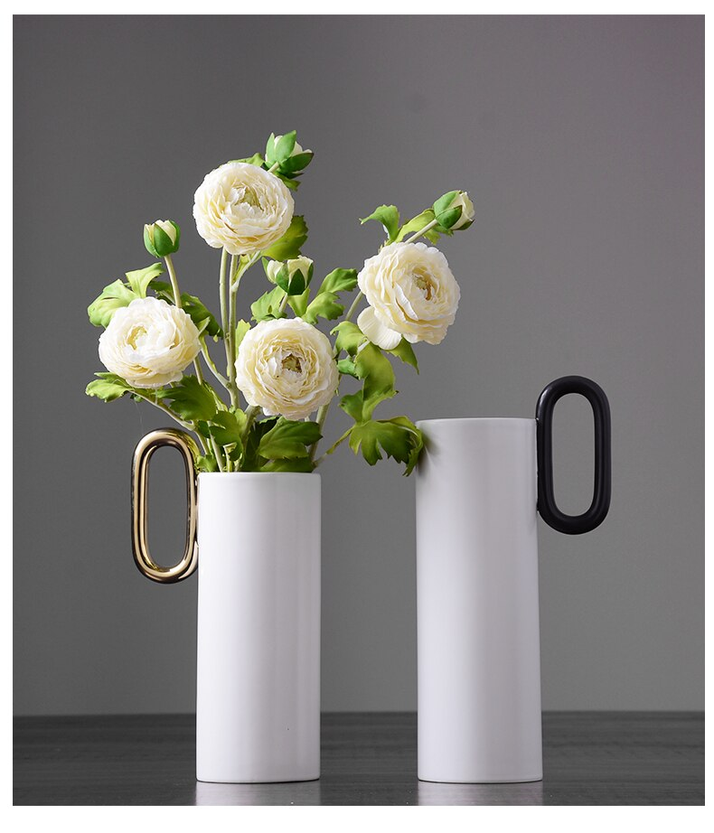 Creative Nordic ceramics Gold cylinder handle Flower arrangement accessories Modern home Decorative ornaments wedding