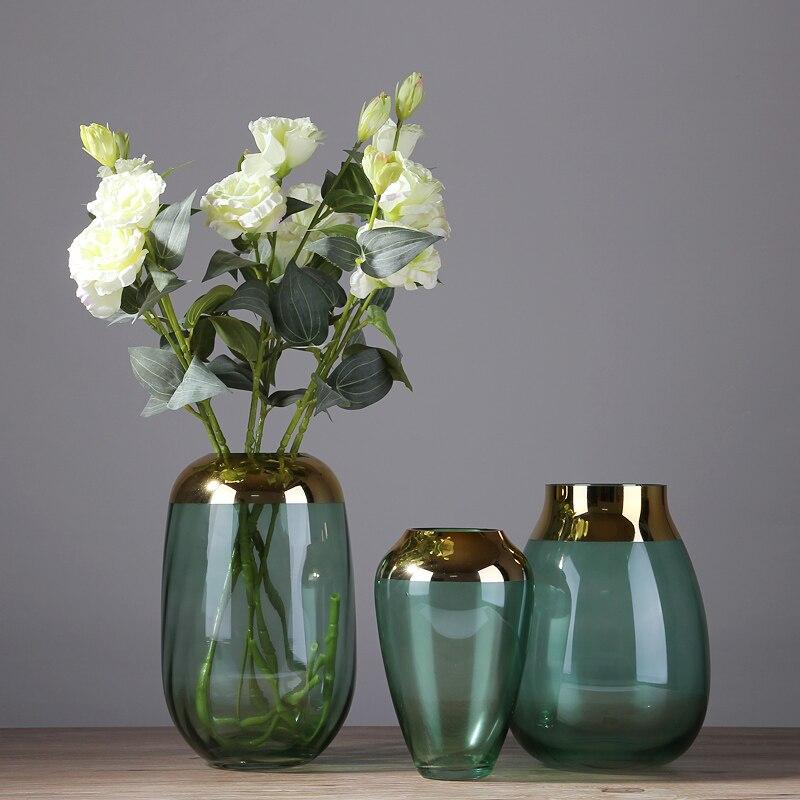 Nordic Creative Transparent glass Gold vase Hydroponics Home restaurant desktop Flower arrangement accessories decoration