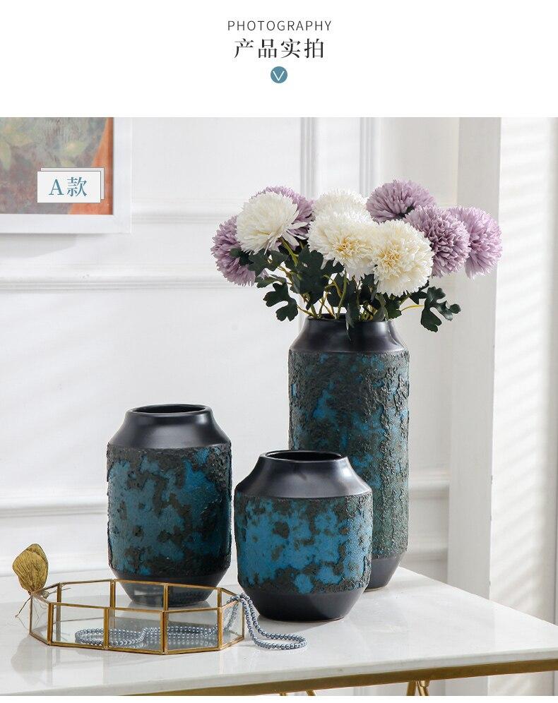 Nordic Creative Marble Ceramic vase Retro Distressed Flower arrangement Flower vase Home Decorative ornaments home decoration