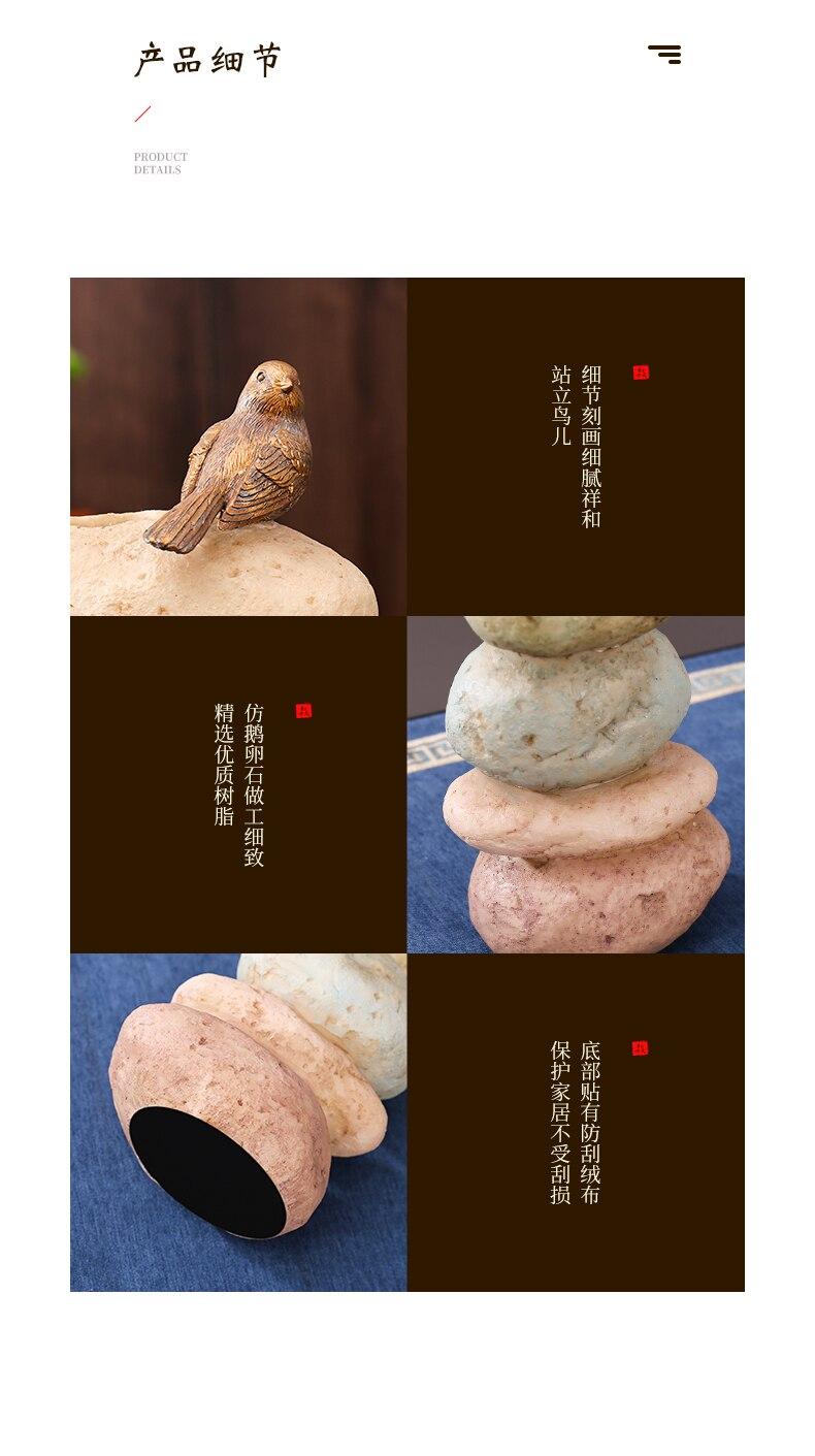 Creativity Chinese Style Resin Stone Bird Crafts Sculpture Flower Arrangement Vase Decorative Accessories Modern Home Decoration